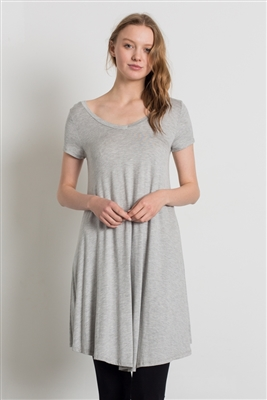 Cap Sleeve Solid Dresses 1002-Heather Grey (6 PC)
