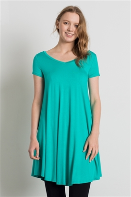 Cap Sleeve Solid Dresses 1002-Mint (6 PC)