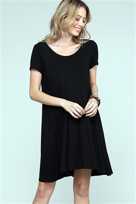 Cap Sleeve Solid Dresses 1004-Black (6 PC)