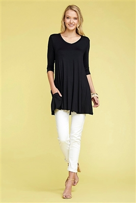 V-NECK 3 QUARTER SLEEVE SIDE POCKET TUNIC 1016-BLACK (6 PC)