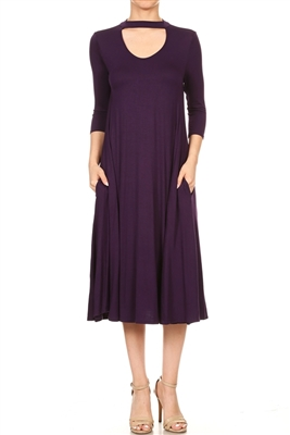 3/4 SLEEVE RELAXED FIT DRESS 1017-EGGPLANT (6 PC)