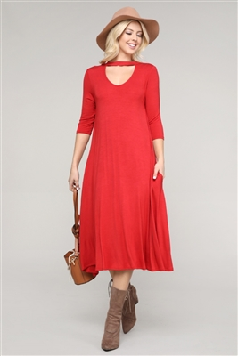 3/4 SLEEVE RELAXED FIT DRESS 1017-GINGER (6 PC)