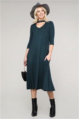 3/4 SLEEVE RELAXED FIT DRESS 1017-H-GREEN (6 PC)