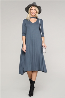 3/4 SLEEVE RELAXED FIT DRESS 1017-TITAN (6 PC)
