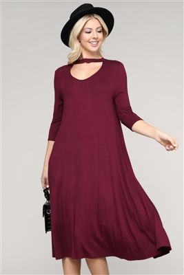 3/4 SLEEVE RELAXED FIT DRESS 1017-WINE (6 PC)