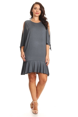 PLUS SIZE COLD SHOULDER RUFFLE HEM DRESS  1031X-DK-GRAY (6 PC)