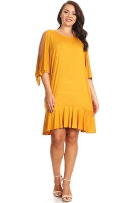 PLUS SIZE COLD SHOULDER RUFFLE HEM DRESS  1031X-MUSTARD (6 PC)