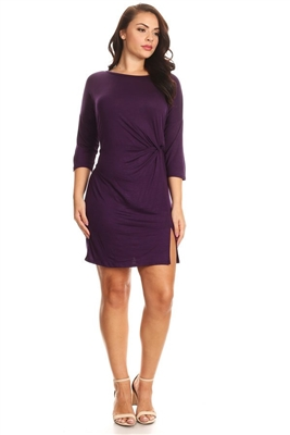 PLUS SIZE TWIST KNOT SLIT FRONT DRESS 1036X-PURPLE (6 PC)