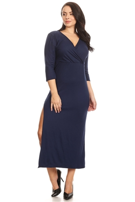 PLUS SIZE SIDE SLIT V-NECK MIDI DRESS 1038X-NAVY (6 PC)