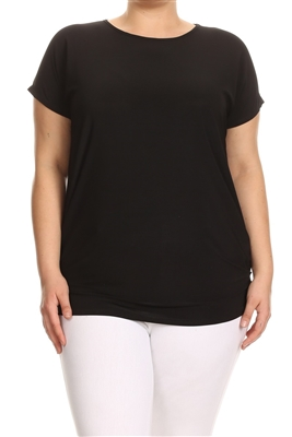 Plus Size solid Basic top 1081X-black (6 PC)
