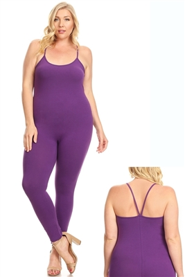Plus size Spaghetti Strap Tank jumpsuit 20006X-Purple-(6 pc 1x-2x-3x)