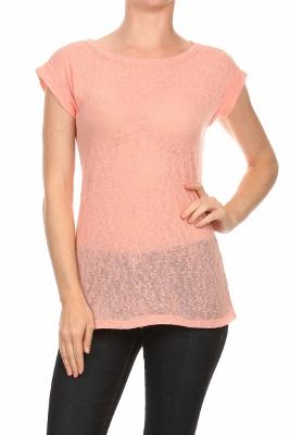 Fashion Hacci Knit Summer top 2386-Peach (6 PC)