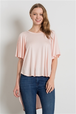 HI-Low Short sleeve tops 4001-Blush (6 PC)