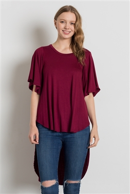 HI-Low Short sleeve tops 4001-Burgundy (6 PC)