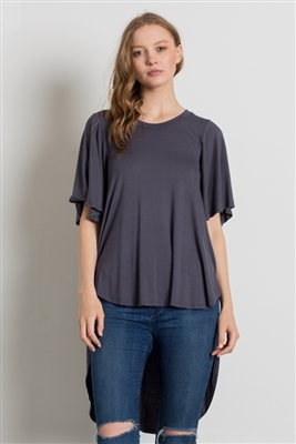 HI-Low Short sleeve tops 4001-Charcoal (6 PC)