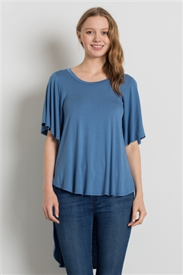 HI-Low Short sleeve tops 4001-Denim Blue (6 PC)