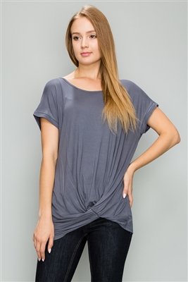 Knot-front Short Sleeve top 4003-Dark Gray