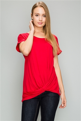 Front Tie (6 PC)d Short Sleeve top 4003-Ruby-6-pc