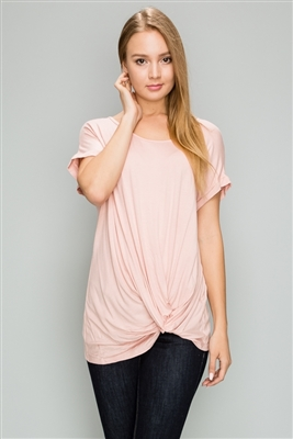 Knot-front Short Sleeve top 4003-Blush