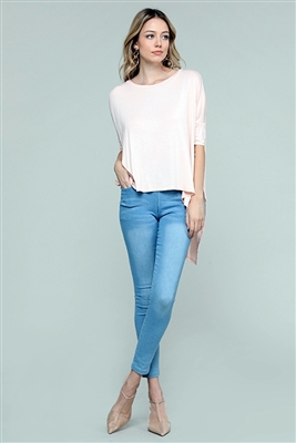 Round neck Dolman Hi-Lo Top 4004-Blush (6 PC)