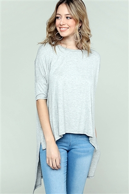 Round neck Dolman Hi-Lo Top 4004-Heather Grey (6 PC)