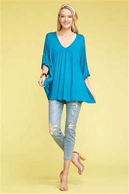 BELL SLEEVES PLEATED V-NECK TOP 4018-TEAL BLUE (6 PC)