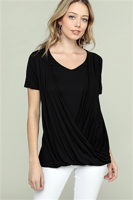 CROSS DRAPED V-NECK TOP 4052-BLACK (6 PC)