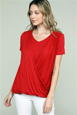 CROSS DRAPED V-NECK TOP 4052-GINGER (6 PC)