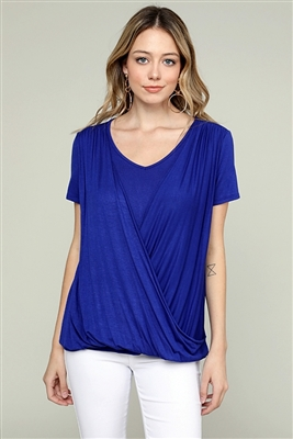 CROSS DRAPED V-NECK TOP 4052-ROYAL (6 PC)