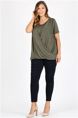 PLUS SIZE CROSS DRAPED V-NECK TOP 4052X-OLIVE (6 PC)