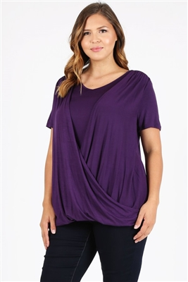 PLUS SIZE CROSS DRAPED V-NECK TOP 4052X-PLUM (6 PC)