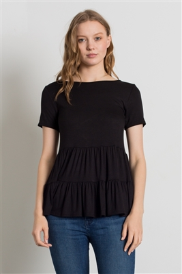 ROUND NECK RUFFLE DETAIL TOP 4056-BLACK (6 PC)