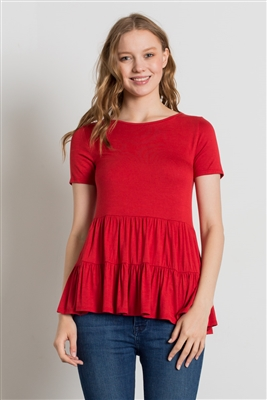 ROUND NECK RUFFLE DETAIL TOP 4056-GINGER (6 PC)