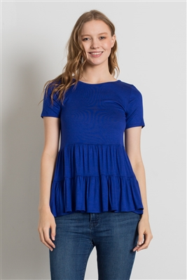 ROUND NECK RUFFLE DETAIL TOP 4056-ROYAL (6 PC)