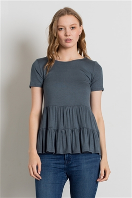 ROUND NECK RUFFLE DETAIL TOP 4056-TITANIUM (6 PC)