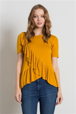 SHORT SLEEVE OVERLAPPING RUFFLED TOP 4057-MUSTARD (6 PC)