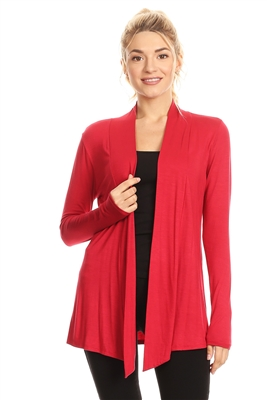 OPEN FRONT DRAPED HEM CARDIGAN 4063-RED (6 PC)