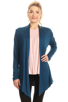 OPEN FRONT DRAPED HEM CARDIGAN 4063-TEAL (6 PC)