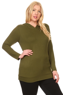 PLUS SIZE HOODED LONG SLEEVE TOP 4064X-OLIVE (6 PC)