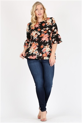 Plus Size 3/4 Bell Sleeve Boat Neck Floral Top 4065FX-BLACK (6 PC)