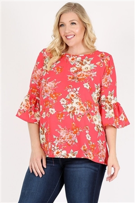 Plus Size 3/4 Bell Sleeve Boat Neck Floral Top 4065FX-CORAL (6 PC)