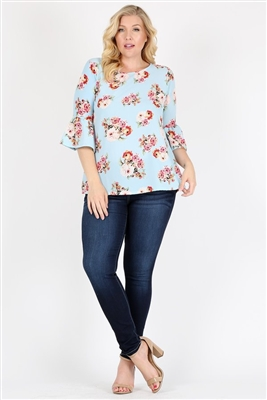 Plus Size 3/4 Bell Sleeve Boat Neck Floral Top 4065FX-LIGHT BLUE (6 PC)