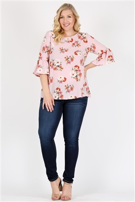Plus Size 3/4 Bell Sleeve Boat Neck Floral Top 4065FX-ROSE (6 PC)
