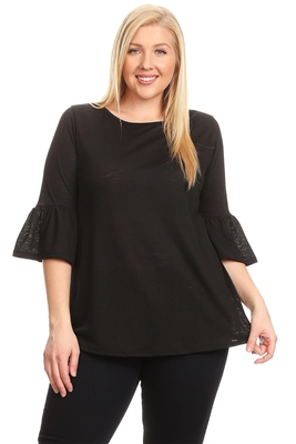 PLUS SIZE 3/4 BELL SLEEVE TOP 4065X-BLACK (6 PC)