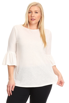 PLUS SIZE 3/4 BELL SLEEVE TOP 4065X-Ivory (6 PC)