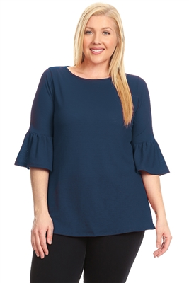 PLUS SIZE 3/4 BELL SLEEVE TOP 4065X-Navy (6 PC)