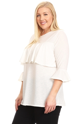 PLUS SIZE 3/4 SLEEVE RUFFLE DESIGN TOP 4066X-OFF-WHITE (6 PC)