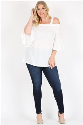 PLUS SIZE COLD SHOULDER BELL SLEEVE TOP 4068X-IVORY (6 PC)