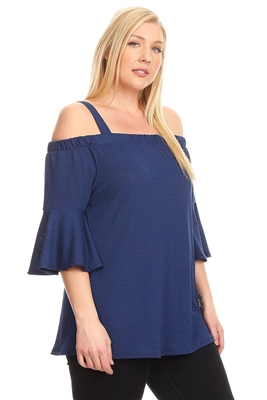 PLUS SIZE COLD SHOULDER BELL SLEEVE TOP 4068X-NAVY (6 PC)