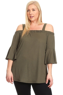 PLUS SIZE COLD SHOULDER BELL SLEEVE TOP 4068X-OLIVE (6 PC)